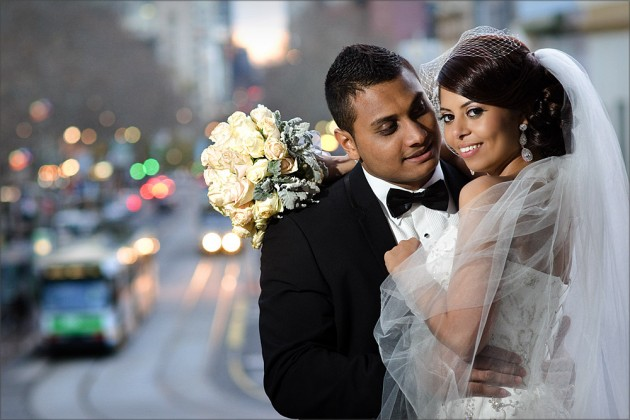 Bridal couple in Melbourne City Centre