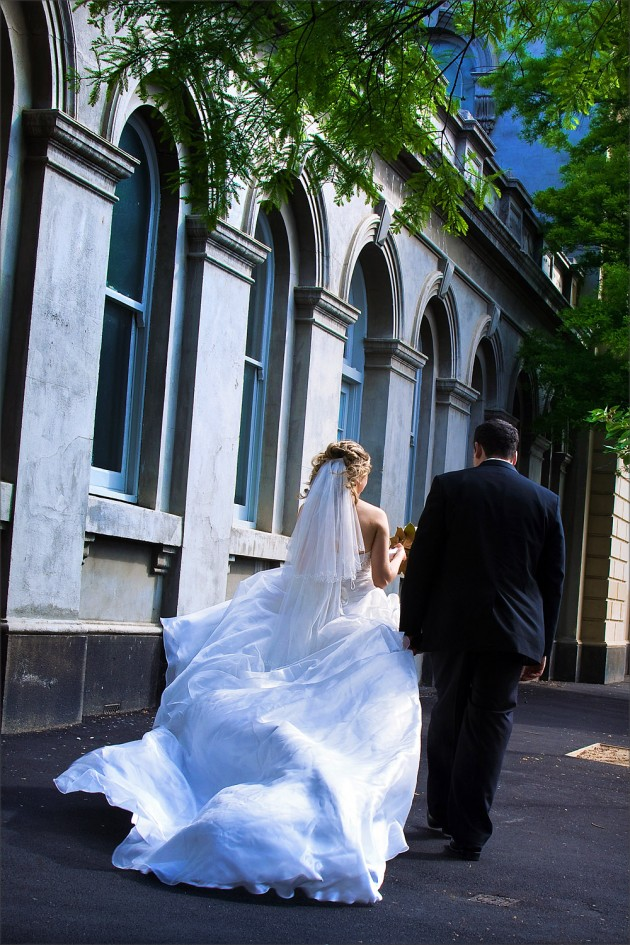 Billowing bridal dress at South Melbourne Town Hall