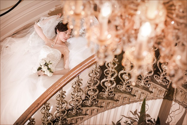 Bride on Butleigh Wootton Stairs