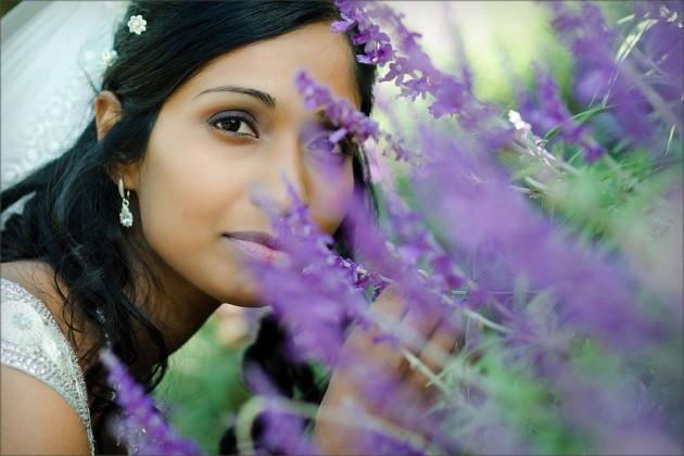 Bride smelling lavender