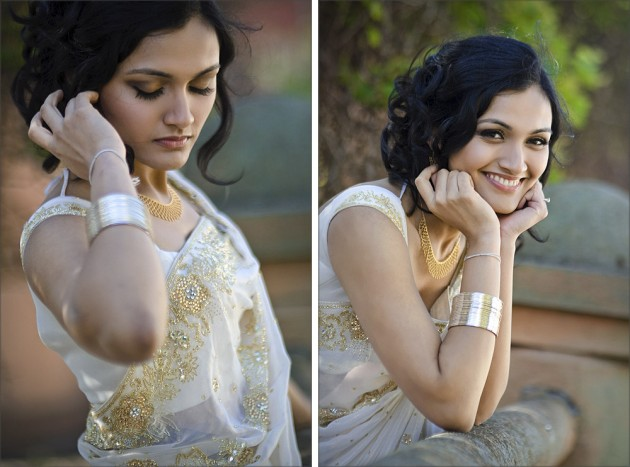 preshoot: bride in stunning gold and white sari