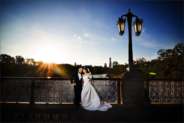 bridal couple on morrell bridge
